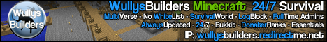 [24/7] Wully's Builder's - 40 Slots - iConomy - Buycraft - Many Plugins - Friendly Staff