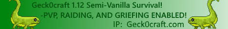Geck0craft 1.12 Semi-Vanilla Survival