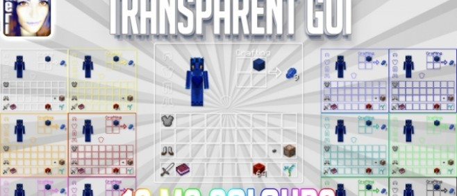 Popular Texture Pack : [Module][GUI] TRANSPARENT GUI 12 hardcoded MC colours incl. coloured GUI headlines 16px some colours also 32px 64px 512px [INFINITUDE] by Meridiana