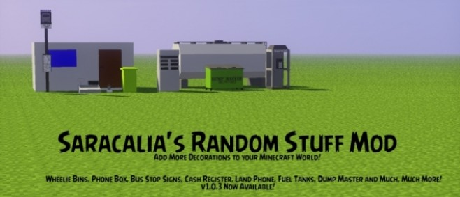 Popular Mod : [1.7.10][FORGE]Saracalia's Random Stuff Mod! - Extra Decorations for your Minecraft World! by Saracalia