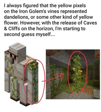 The iron golem's right arm was like a lush cave Minecraft Blog