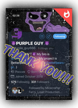 """Thank You """"PURPLE GUY"""" for Subscribing to the General!!! Minecraft Blog"""