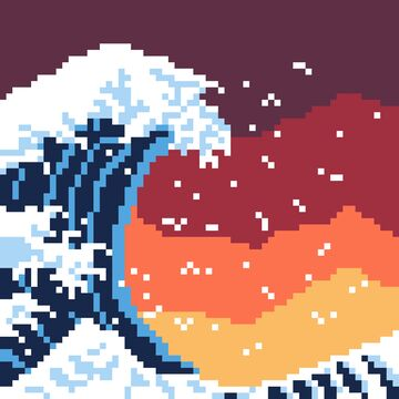 The Great Wave (with semi-sunset backgrounder) Minecraft Blog