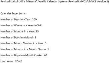 Revised Luckvinz07's Minecraft Vanilla Calendar System (Revised LMVCS/LMVCS Version 2) - A Calendar System for Minecraft Minecraft Blog