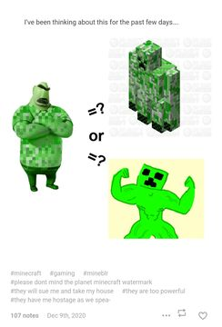 Someone used my buff creeper skin for their Meme and I don't mind Minecraft Blog