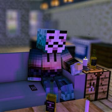 Minecraft - Dark Living Room, Watching TV [8k Desktop Wallpaper] Minecraft Blog