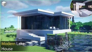 Minecraft Tutorial - Modern Lake House Minecraft Blog