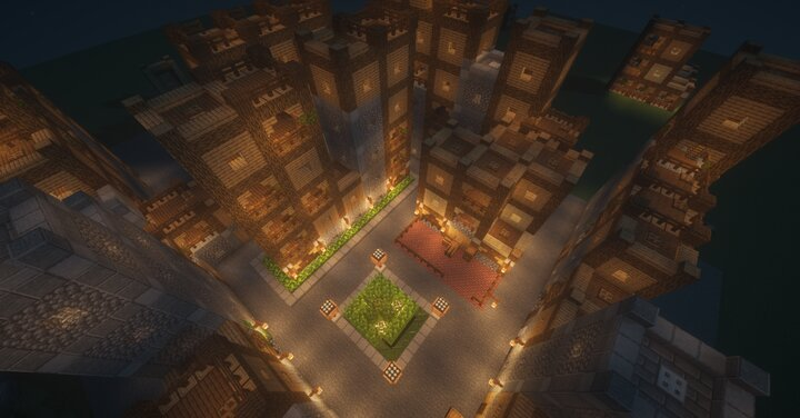exemple of city made out of tower wall night