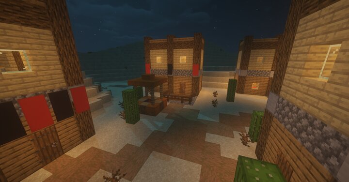 example of village build with 4 tiny houses