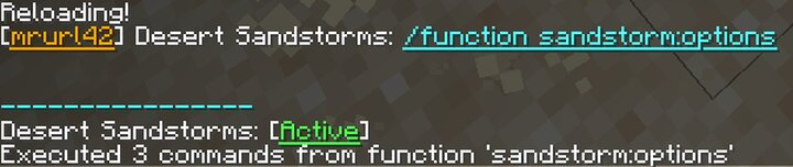 Options menu to turn the storms on and off