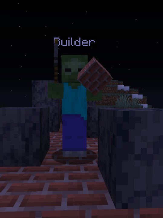 The builder makes structures around his fellow zombies, letting them heal to full health