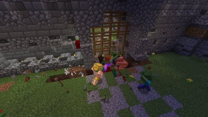 A 2 block deep hole infront of the gate was made, the rest of the destruction was from the zombies
