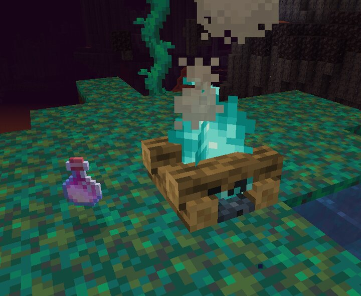 The ingredients. Throw a heatproof water item ontop of a soul campfire to create a water source block!