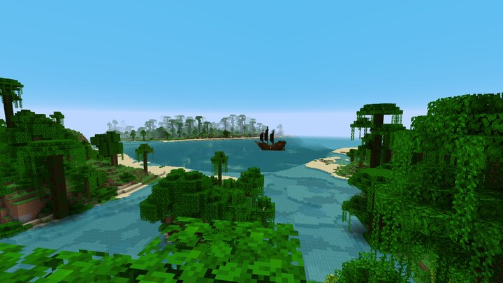 Overworld volcanic island jungles and pirate ship
