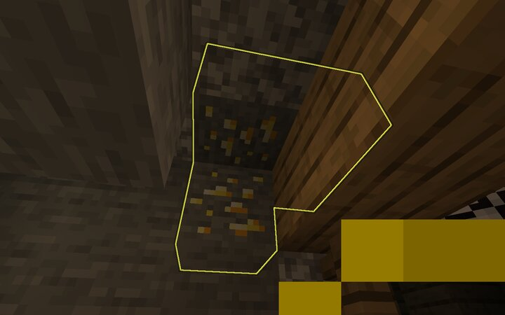 gold ore in a mineshaft