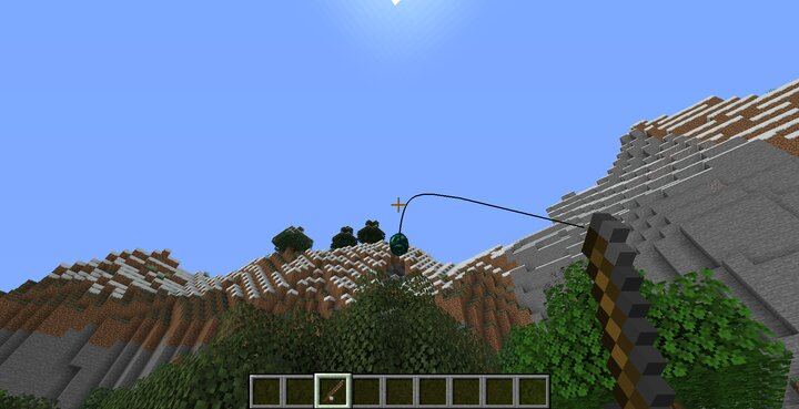 Right click to shoot out the grappling hook. It has a different appearance to the regular bobber.