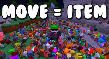 Minecraft but every time you move, items spawn Minecraft Data Pack