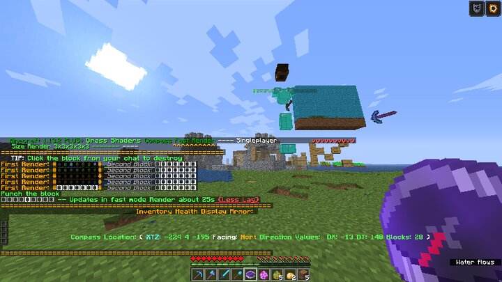 Minecraft in Chat shows in the bottom left! before you use it just use Minecraft 1.13.2 Item Compass item
