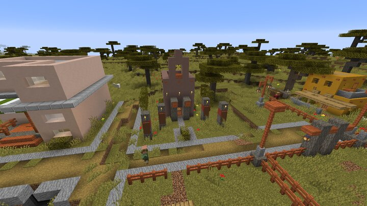 A nice shot of the Temple. A cementary will ONLY apper next to a Temple. IF... only IF it spawns in.