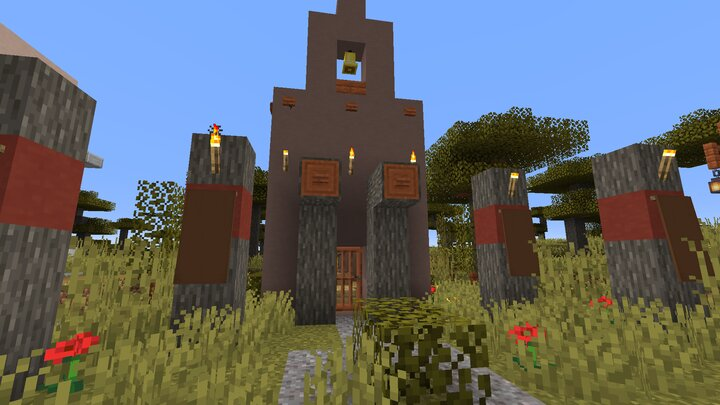 The temple will sometimes have a Cementary Spawn next it. It seems to be very rare when i was exploring.