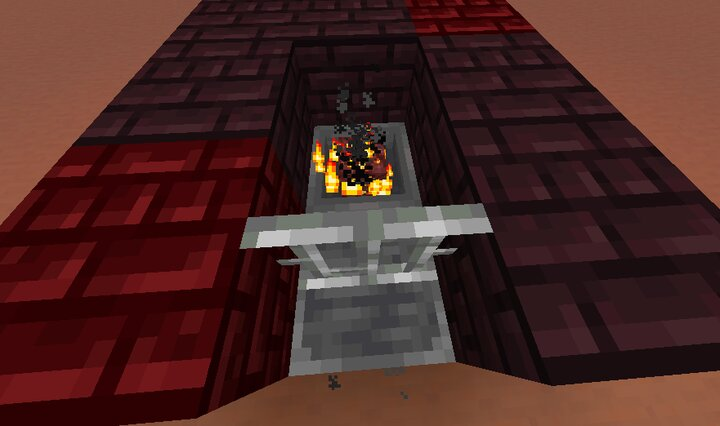nether gold ore being smelted