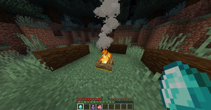 Drop a diamond to a campfire to activate its new function