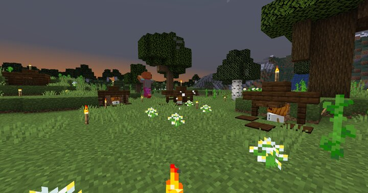 The setup of our survival base! The snow golems are protected by a trapdoor, as well as other golems!