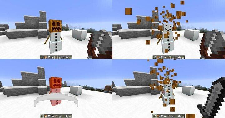 Shearing a snow golem, or causing too much damage will break its pumpkin helmet, as well as drop pumpkin seeds.