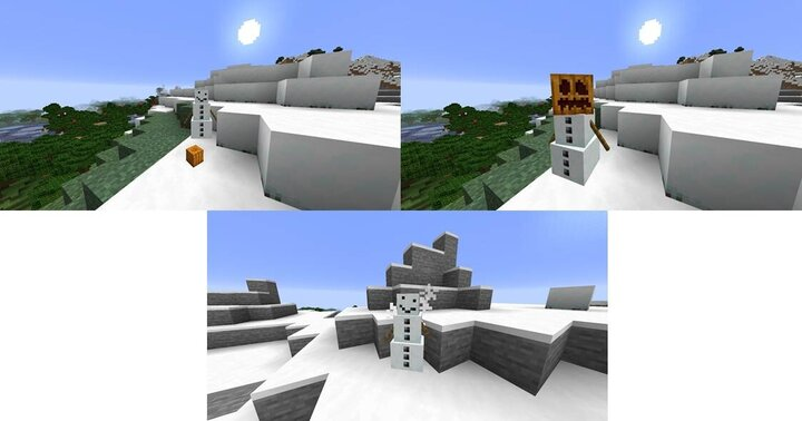 A pumpkin thrown item can re-equip a snow golem they also have flurry particles when low on health!