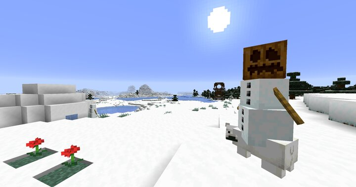 A baby polar bear jockey natural spawn, a rare one-in-twenty occurrence in snowy mountains, snowy tundras and ice spikes biomes, besides herds of regular snowmen.