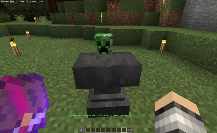 Enchanting a Creeper Head Enchanted Book in Offhand  2 Levels