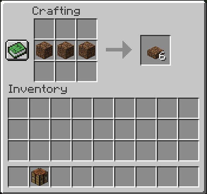 3 coarse dirt blocks form 6 slabs