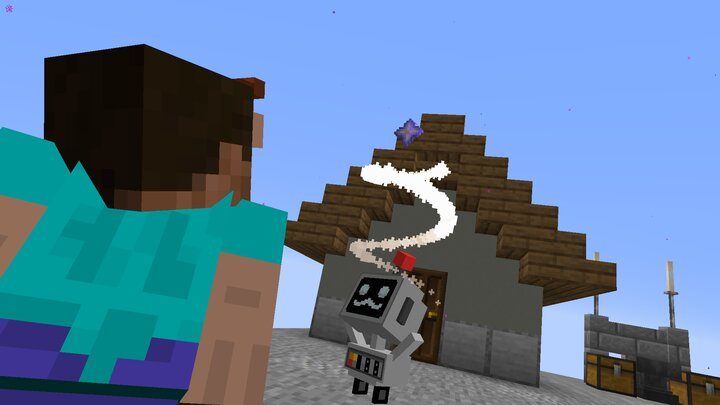 Grumbot unlocking a player's Nether Star. He got Slime Boots after this!