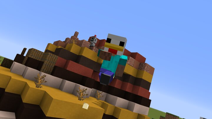 The Poultry-Man Head...Obtainable By Trading Grumbot a Nether Star, this head will allow you to fall slower while displaying the egg particles!