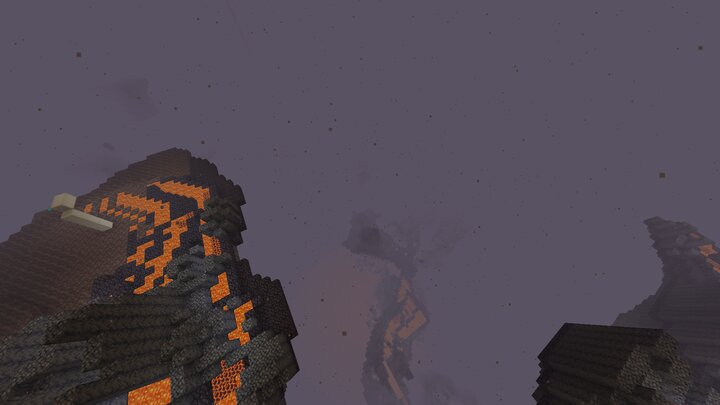 Looking down on a Basalt Deltas from where the bedrock roof normally generates without this datapack