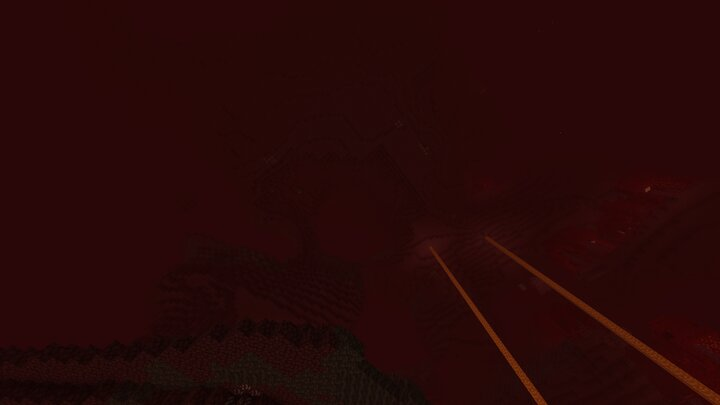 Looking up in the Nether Wastes