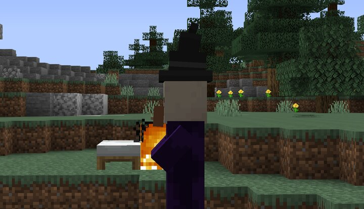 Witch with jetpack flames behind them