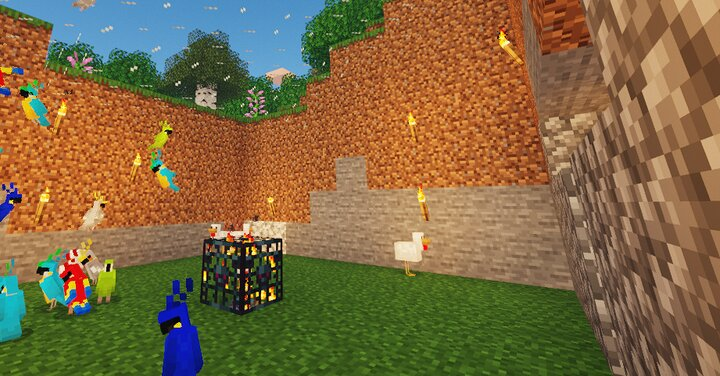 A use of a parrot and chicken spawner