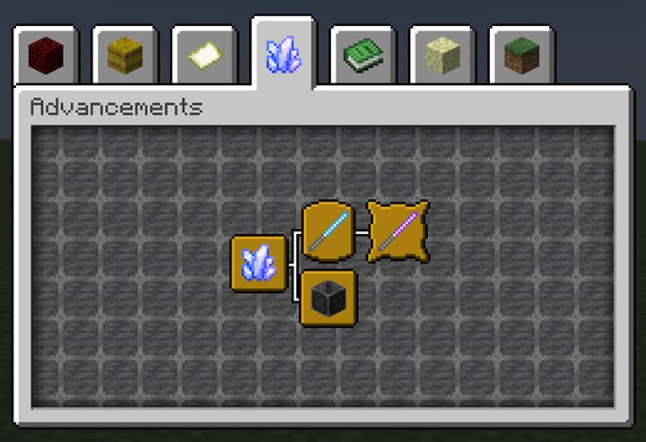 The advancements tab for the pack. Top-left to bottom-right, A New Hope, Glowstick Sword, Blademaster, and The Ancient Forge.