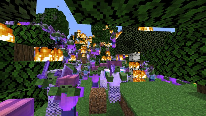 Zombie Army burning down a forest