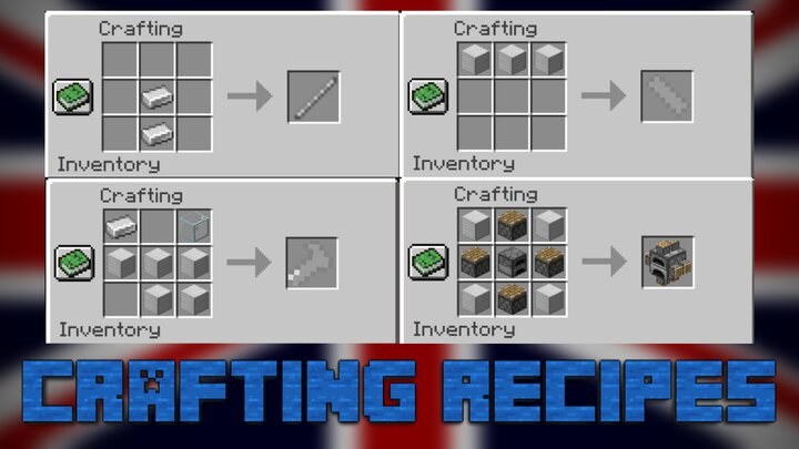 Crafting recipes for plane parts