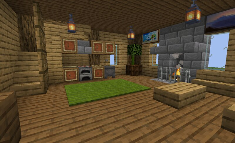 The inside of the wooden house.