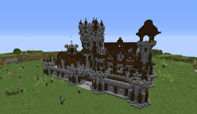 How the Pillager Castle looks like when generated - castle testing world for educational purposes