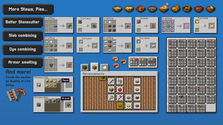 New stews, new pies! Combine any two dyes. Significant work has gone into improving ressource grind in the game, and adding more spice to vanilla's crafting system.
