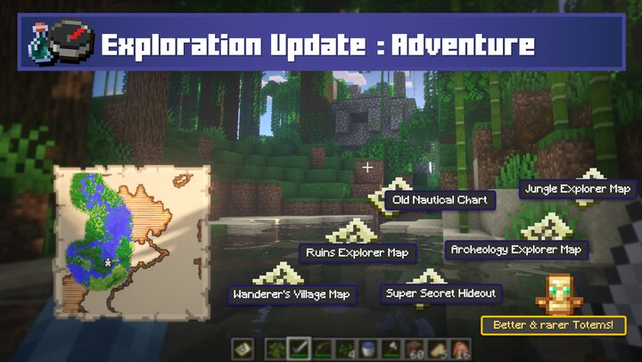 Maps to various structures are peppered throughout the world. Jungle temples have tipped arrows, Mineshafts have TNT minecarts, Bottles of Ender in End Cities, Totems exlusive to Mansions, etc! Getting hooked into an adventure is a lot easier.