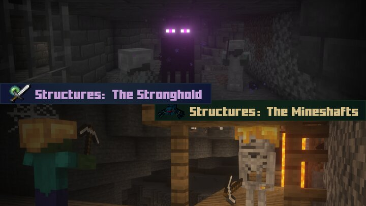 Strongholds, Mineshafts, Woodland Mansions and Pillager Outposts have more mobs to add to both the ambience and the challenge of the structure! These additional spawns scale with difficulty setting.