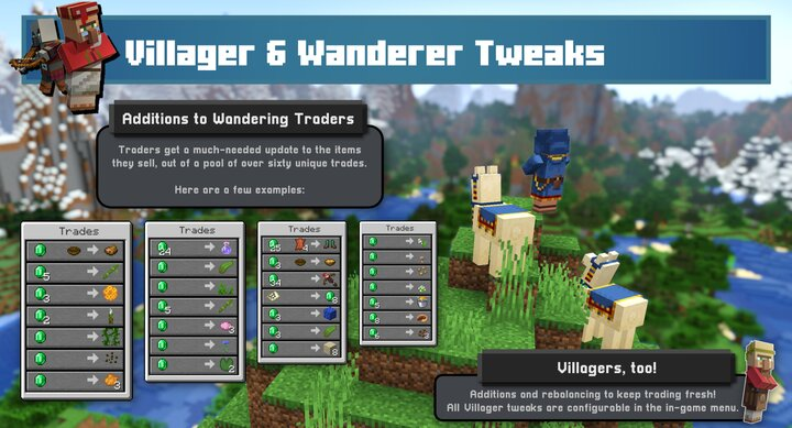 """Wandering Traders and Villagers also got some love. See the section on """"Villagers & Wanderers"""" for details"""