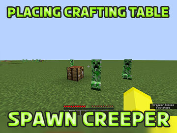 Minecraft but Placing Crafting Table Summon Creepers Minecraft Data Pack