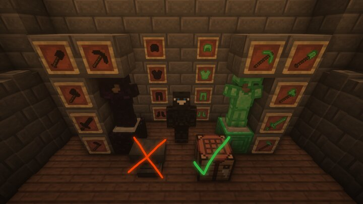 Craft realistic recipes for both obsidian and emerald armor, weapons, and tools.