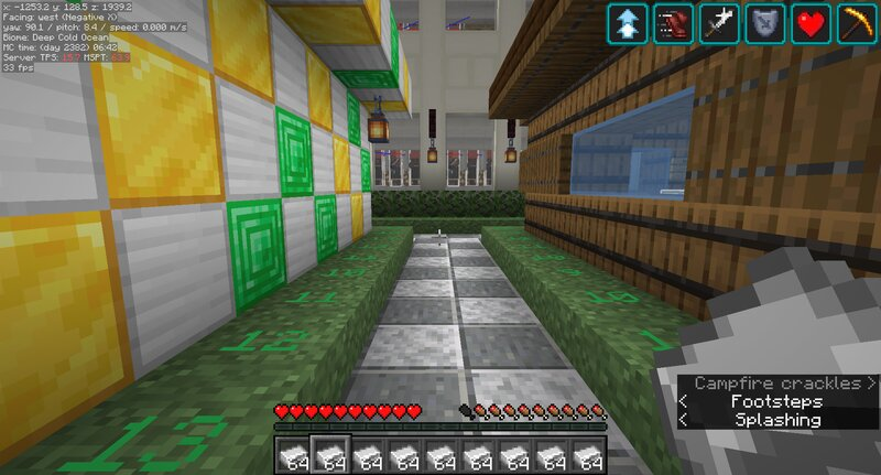 """Before applying the """"Stillager"""" tags, the 150 villagers in this trading hall reduced TPS to 15 and increased MSPT to 65.  FPS is reduced to 30 when it should be at 60 where I have it capped."""